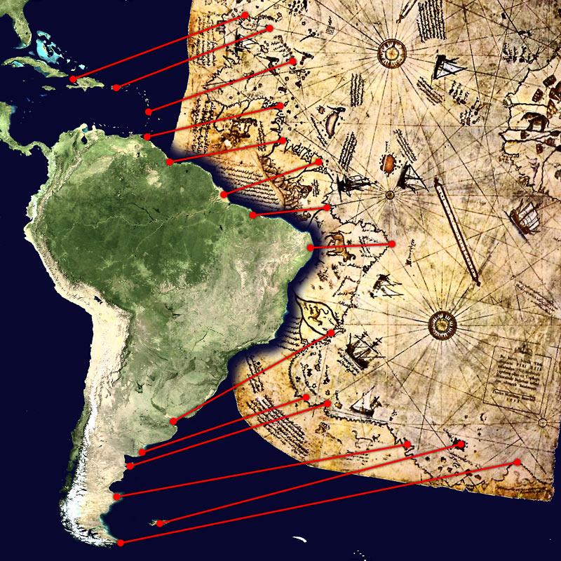Na foto: Comparação entre o fragmento sobrevivente do Mapa de Piri Reis com a costa sul-americana.