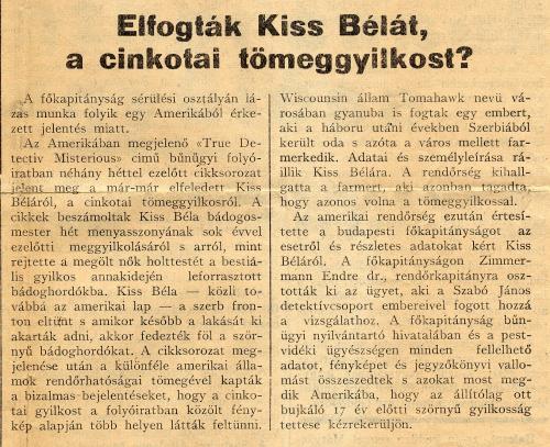 Serial Killers - Bela Kiss - Artigo de Jornal