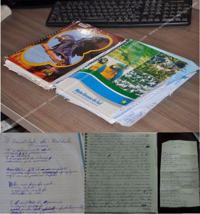 Na foto: Os cadernos e anotações de Dioanthan Celestrino. Créditos: Amambay.