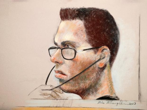 Na Foto: Desenho de Luka Magnotta durante audiência preliminar do seu julgamento. Créditos: Ottawa Citizen.