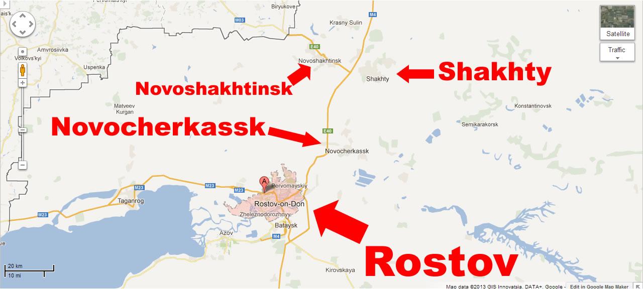 Na Foto: Mapa mostrando a grande cidade de Rostov e suas cidades vizinhas, Novocherkassk, Shakhty e Novoshakhtinsk. Créditos: Maps Google.
