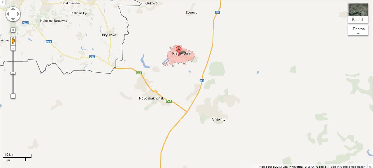 Na Foto: Localização da cidade de Krasny Sulin, ao norte de Novoshakhtinsk e Shakhty.