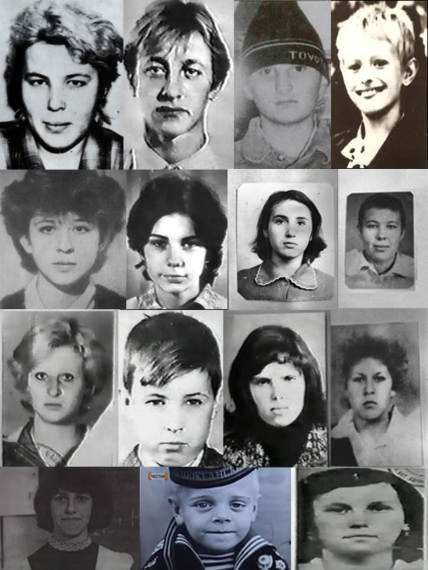 Na Foto: Apenas alguns das dezenas de vítimas de Andrei Romanovich Chikatilo