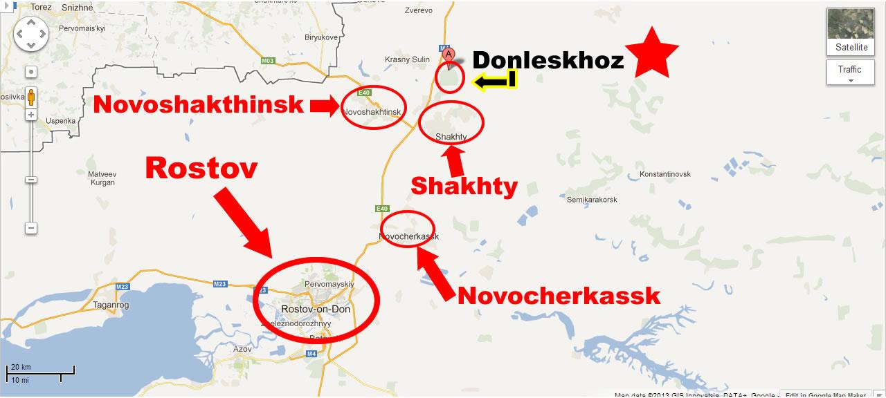 Na Foto: Mapa da estação de Donleskhoz. Créditos: Google maps.