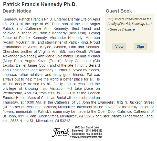 Nota de falecimento de Patrick Kennedy publicada no Milwaukee Journal Sentinel.