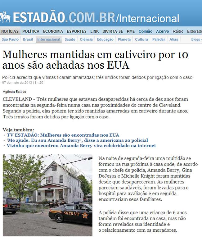Na foto: Reportagem do jornal O Estadão sobre o caso Ariel Castro.