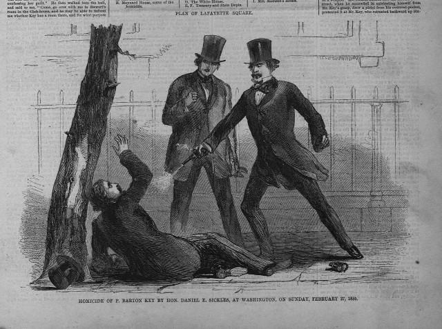 Na foto: Iustração da época mostra o congressista Daniel Sickles atirando em Phillip Key. Créditos: corbis.