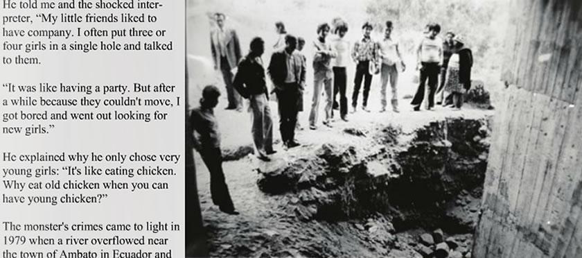 Na Foto: Investigadores e curiosos observam uma das covas onde Lopez enterrou várias vítimas. Créditos: Ron Laytner portfolio.