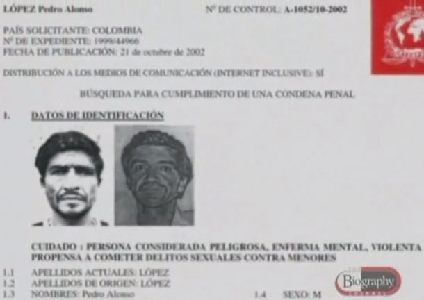 Na Foto: Alerta da Interpol. Créditos: Documentário Biography Channel.