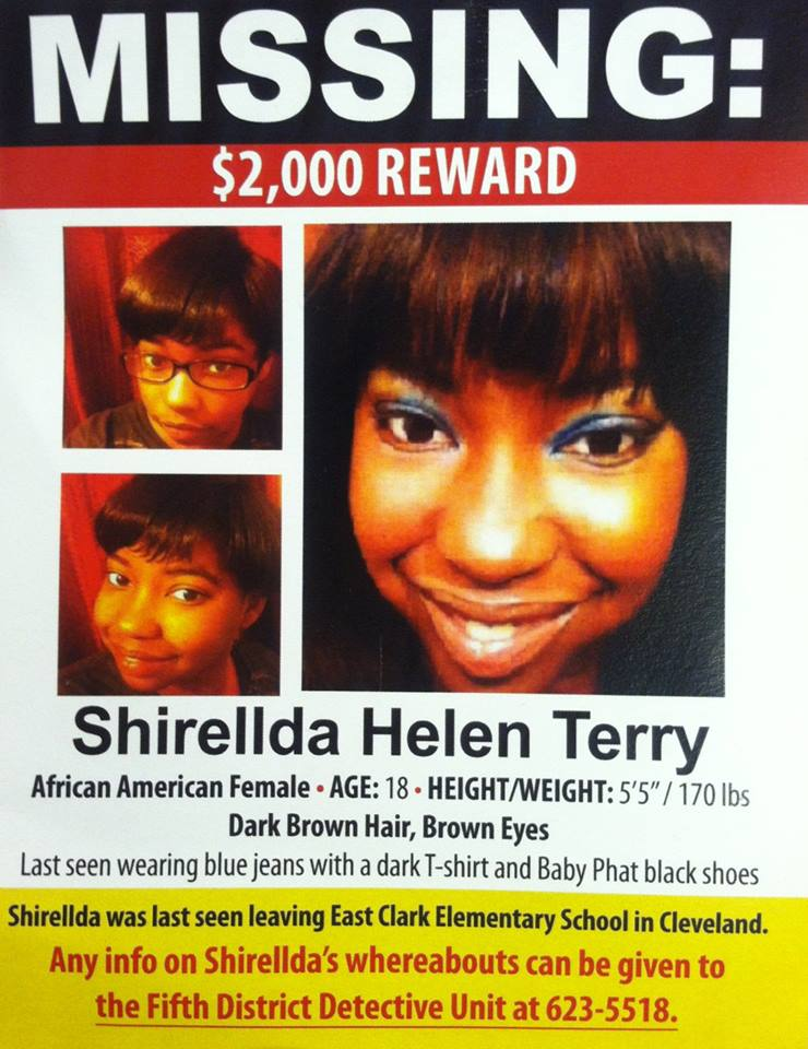 Na foto: Cartaz confeccionado pela família de Shirellda. Créditos: facebook (Shirellda Terry is Missing)