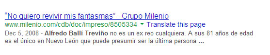 "Pesquisa no Google para ""Alfredo Ballí Treviño"" traz nos primeiros resultados matéria publicada no jornal mexicano Milenio."