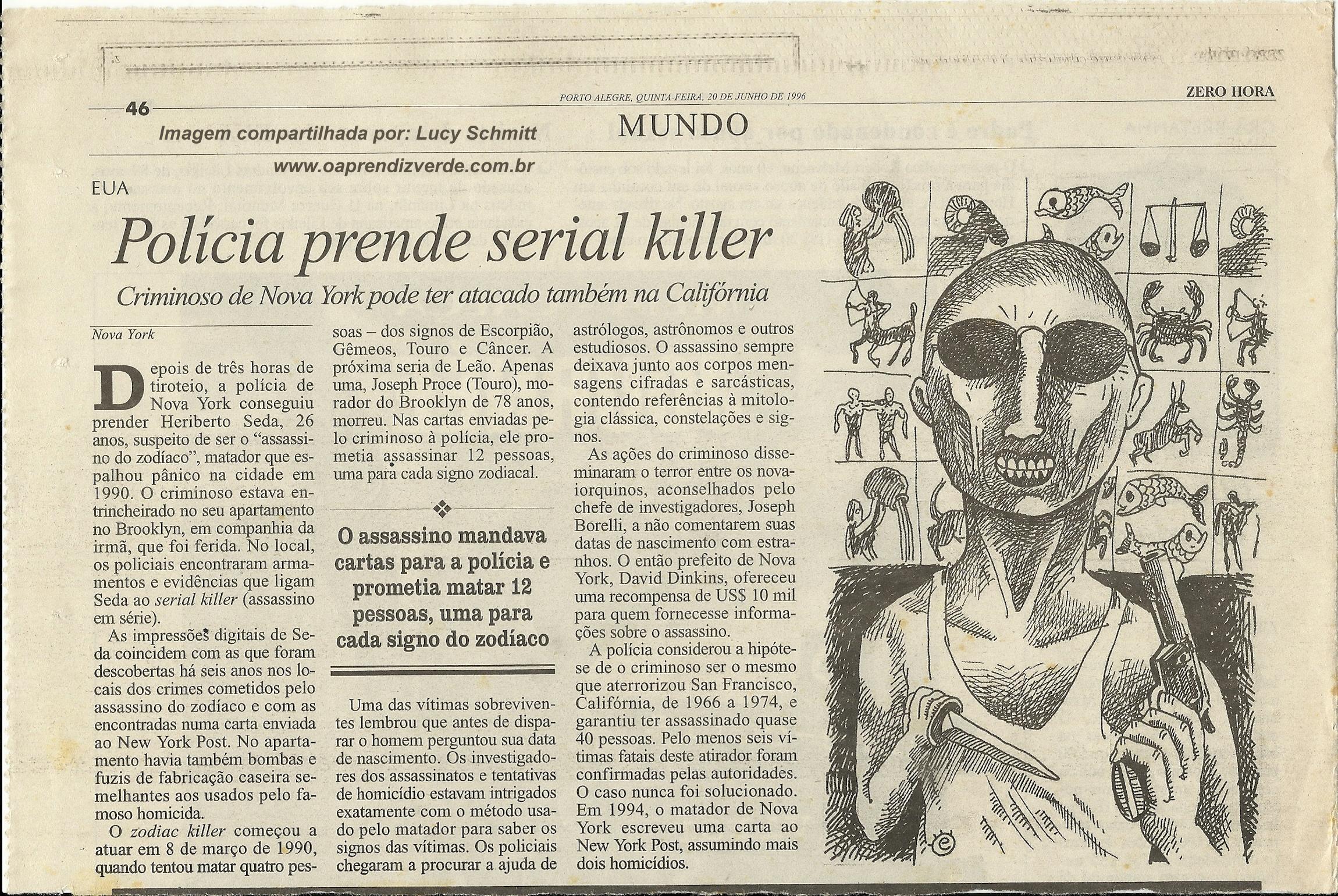 Reportagem original publicada no Jornal Zero Hora de Porto Alegre em 20 de junho de 1996. Imagem compartilhada por Lucy Schmitt.