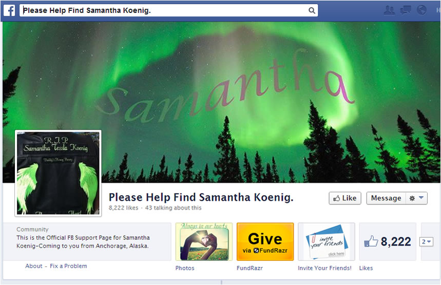 Na foto: Página criada na rede social Facebook pede por informações sobre Samantha. Créditos: Facebook.
