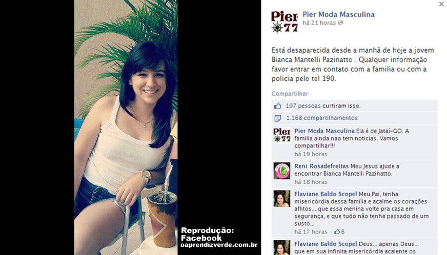 Perfil no Facebook compartilha informações sobre o desaparecimento de Bianca Pazinatto.