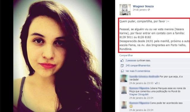 Notorios e Horripilantes Crimes de 2013 - Naiara Karine - Foto Facebook Wagner