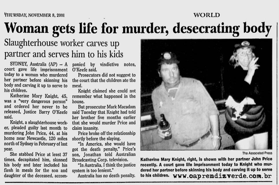 Crimes Historicos - Hanna Lecter da Australia - Jornal