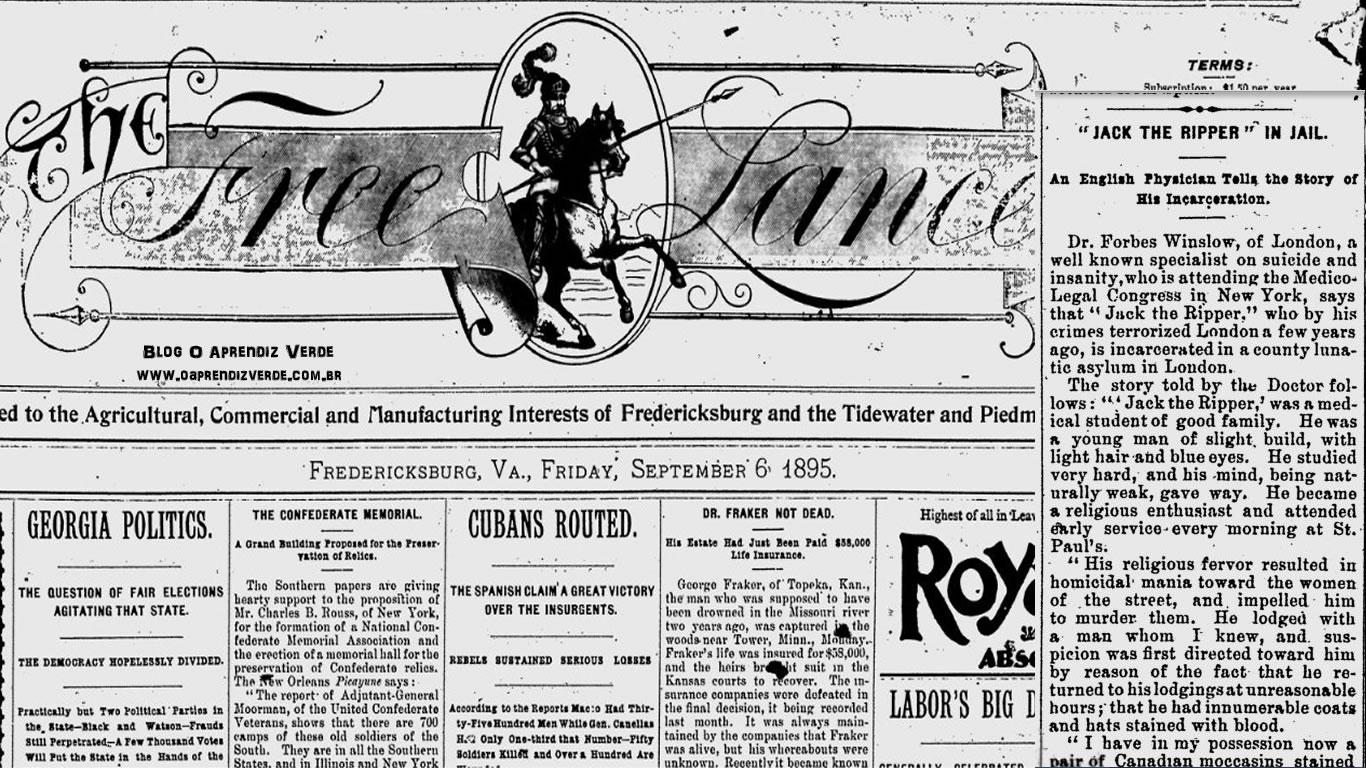 Na foto: À direita a reportagem publica no jornal The Free Lance datado de 6 de Setembro de 1895. Créditos: The Free Lance.