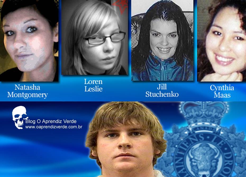 Na foto: O serial killer Cody Legebokoff e suas quatro vítimas. Créditos: Beaconnews.