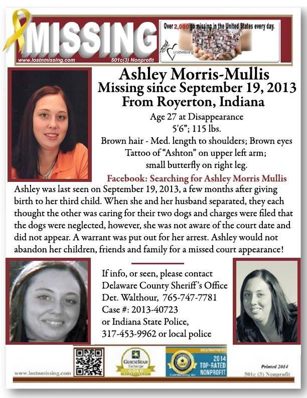 Na foto: Cartaz com informações do desaparecimento de Ashley Mullis. Créditos: Facebook (Searching for Ashley Morris Mullis).