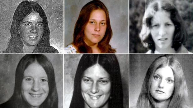 Na foto: Vítimas do desconhecido serial killer de Gypsy Hill. Da esquerda para a direita: Paula Baxter, Tanya Marie Blackwell, Carol Lee Booth, Michelle Mitchell, Denise Lamp, Veronica Cascio. Créditos: FBI.