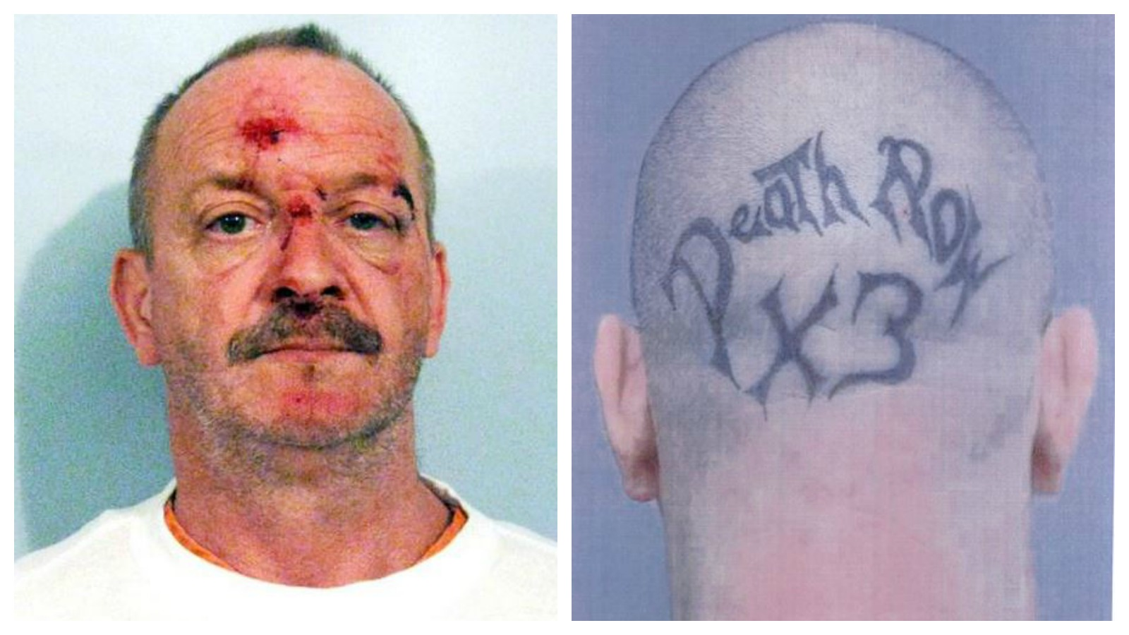 Na foto: A sinistra tatuagem do serial killer Willian Clyde Gibson. Créditos: My Fox 8.