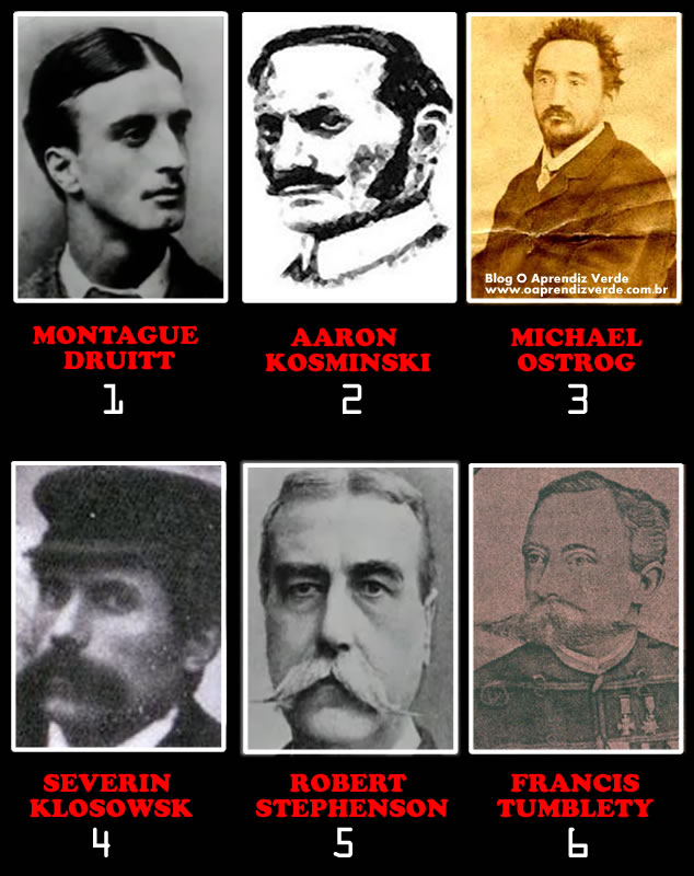 Na foto: Os seis principais suspeitos no caso Jack, o Estripador.
