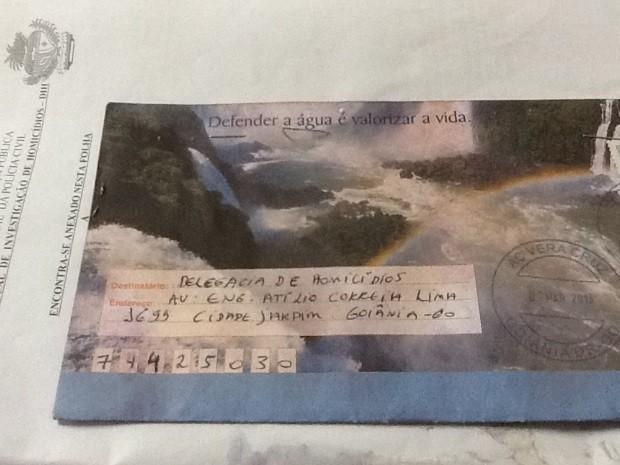 Envelope enviado à delegacia em Março de 2013. Foto: O Popular.