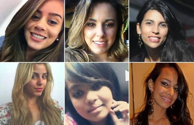 Na foto: Bárbara, Wanessa, Juliana, Janaina, Taynara e Isadora. Vítimas do serial killer de Goiânia. Créditos: G1 Goiás.