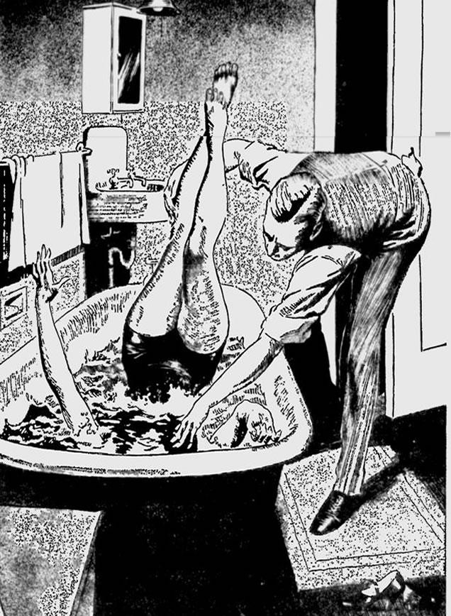 Na foto: Gravura publicada em jornal da época mostra o cientista Spilsbury realizando o experimento com uma voluntária que quase morreu em nome da ciência forense. Créditos: The Milwaukee Journal. 27 de Janeiro de 1935.