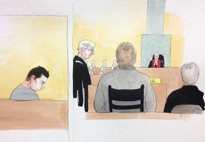 Na foto: Desenho do testemunho do pai de Magnotta durante o julgamento do filho. Créditos: DELF BERG/QMI Agency.
