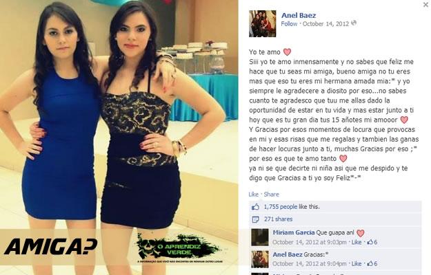 As amigas Erandy Elizabeth e Anel Baez. Reprodução Facebook.