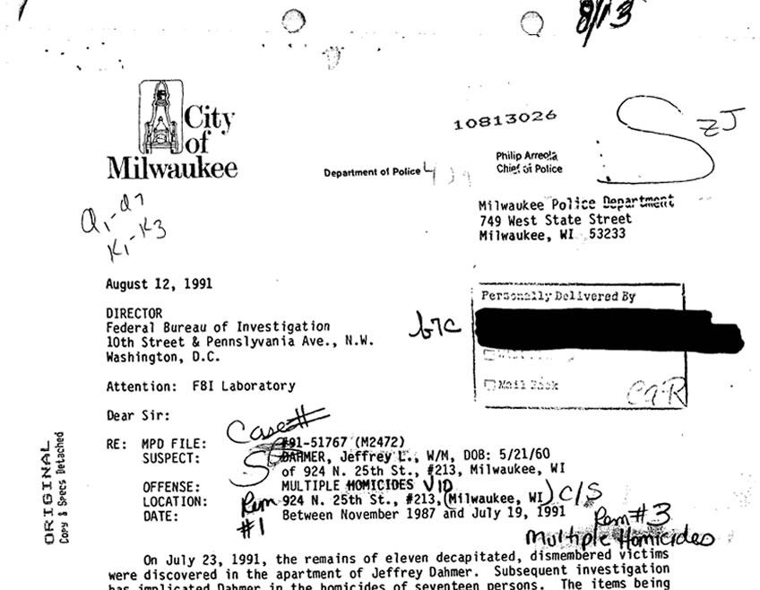 Na imagem: Telegrama do Laboratório do FBI para o Departamento de Polícia de Milwaukee. No conteúdo, a descrição das 11 vítimas identificadas pelo Bureau. Créditos: FBI Vault.