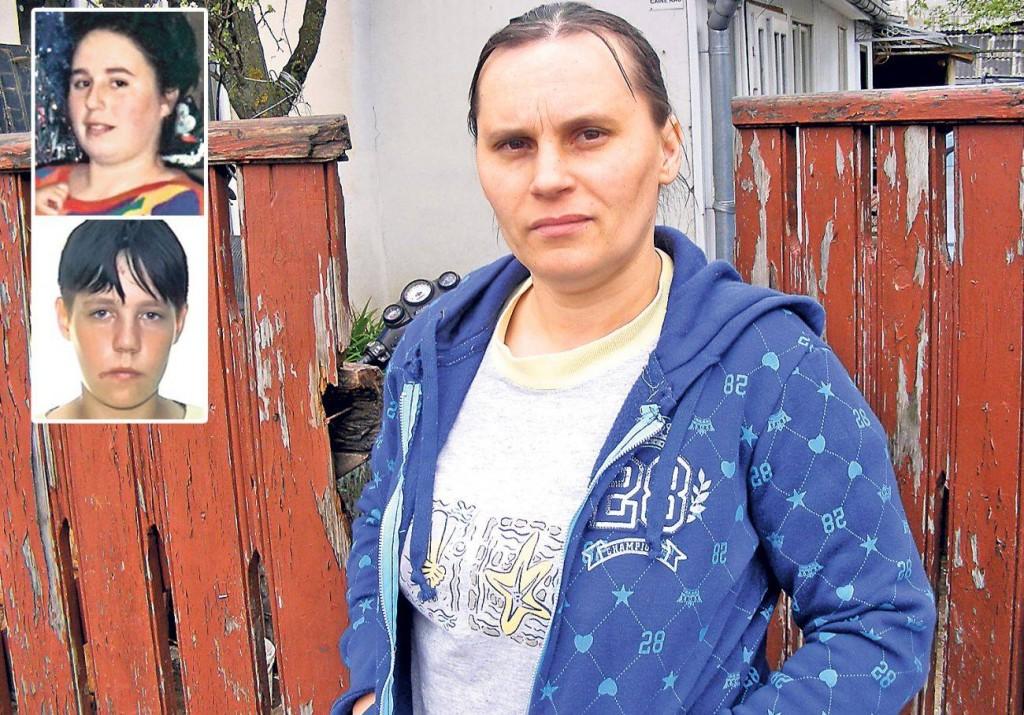 """Na foto: De blusa azul, a atual mulher de Vasile Lavric. Ela jura de pés juntos que seu marido é """"inocente"""". No detalhe à esquerda, duas das vítimas do canibal: as irmãs Nicoleta e Ramona. Créditos: Libertatea."""