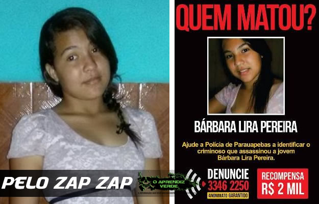 A adolescente Bárbara Lira Ferreira, morta aos 13 anos.