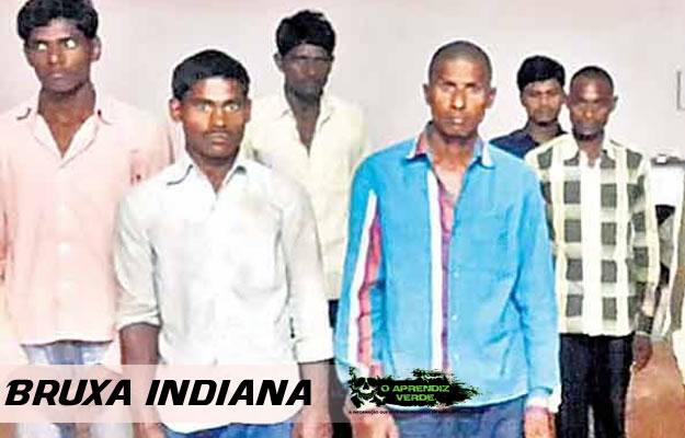 Alguns dos presos acusados do assassinato de uma mulher de 55 anos na Índia. Foto: Bhaskar News.