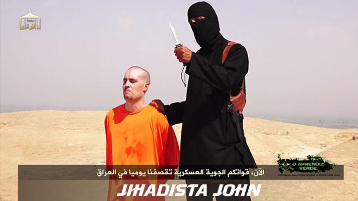 O jornalista americano James Foley, de joelhos, e Jihadista John. Foto: ISIS.