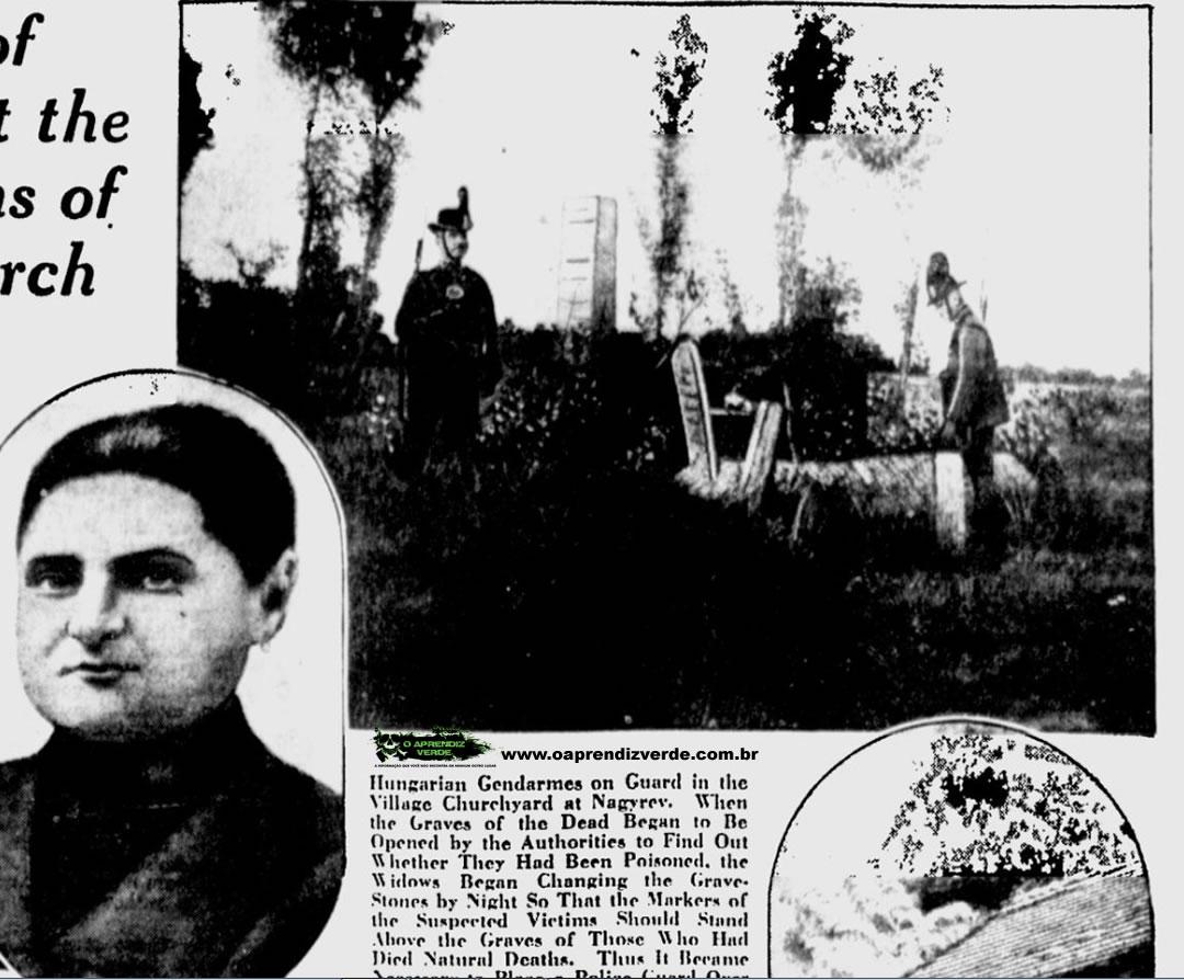 Guardas húngaros vigiam as lápides no jardim da igreja em Nagyrév. Quando as covas dos mortos começaram a ser abertas pelas autoridades para saber se eles foram envenenados, as viúvas começaram a mudar as lápides de noite de modo que as lápides dos envenenados fossem postas sobre os que morreram de causas naturais. Por isso foi necessário colocar guarda policial para vigiar o cemitério até que as exumações terminem. Foto: The Milwaukee Sentinel, 23 de Novembro de 1929.