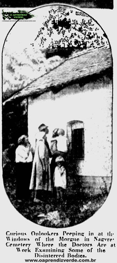 Curiosos observam a partir da janela do necrotério do cemitério de Nagyrév onde médicos trabalham examinando alguns dos corpos exumados. Foto: The Milwaukee Sentinel, 23 de Novembro de 1929.