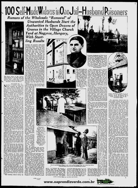 """Na foto: página do The Milwaukee Sentinel de 23 de novembro de 1929, sobre as """"Fazedoras de Anjos"""". Créditos: The Milwaukee Sentinel."""