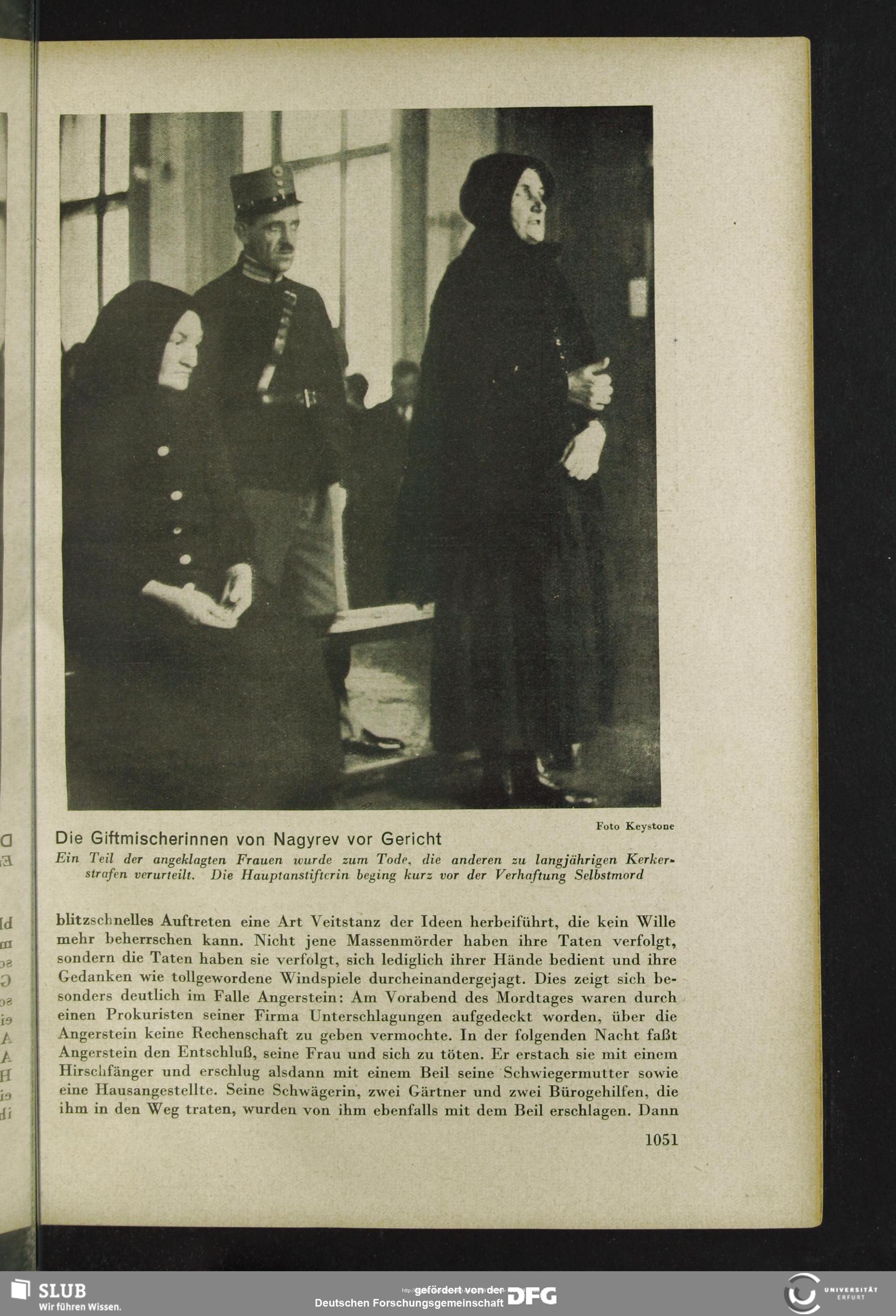 Reportagem de época sobre o julgamento das Criadoras de Anjos de Nagyrév. Foto: Forschungsgemeinschaft.
