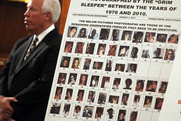 Polícia de Los Angeles apesenta as fotos de mulheres encontradas na casa de Franklin. Foto: LA Times.
