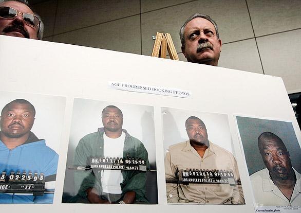 Franklin em fotos de quando foi preso. Foto: LA Times.