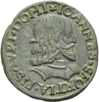Moeda do século XVI estampando o rosto de Giovanni Sforza, o primeiro marido de Lucrécia Borgia, filha do Papa Alexandre VI. Foto: Wikipedia.