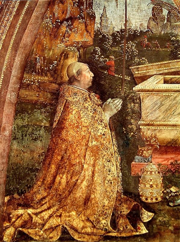 Papa Alexander VI retratado em Fresco of the Resurrection, pintado entre 1492 e 1495 pelo pintor italiano Pinturicchio.