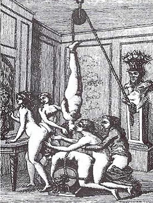 Gravura baseada na obra de Marquês de Sade.