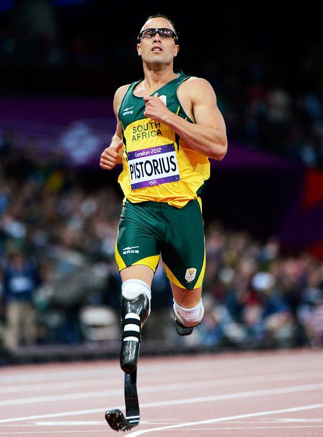 Oscar Pistorius durante competição nas Olímpiadas. Reprodução Internet.