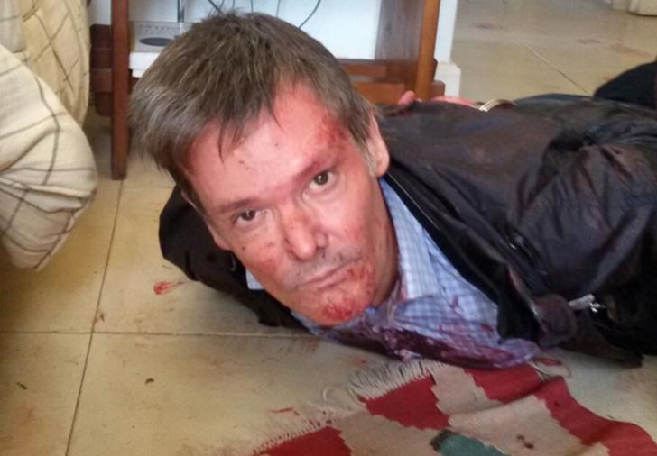 O executivo Fernando Farré preso logo após esfaquear sua esposa. Foto: Diario Tag.