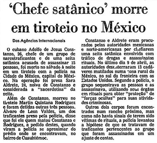 Reportagem da Folha de São Paulo sobre a morte de Adolfo de Jesus Constanzo.
