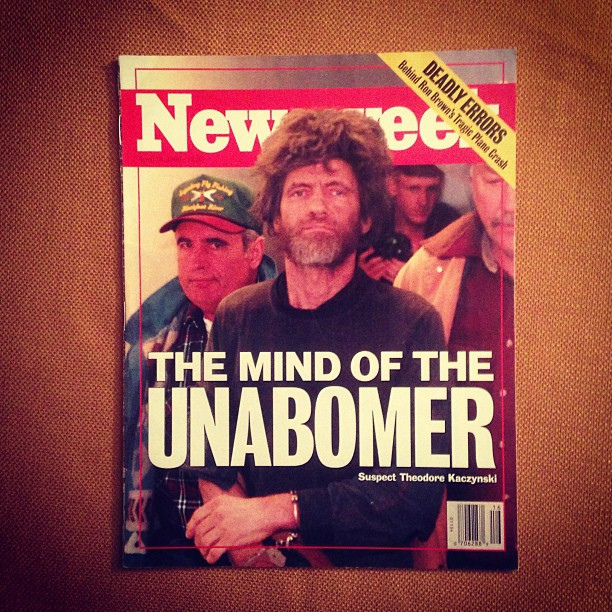 """A Mente do Unabmober"", revista Newsweek, 15 de abril de 1996."