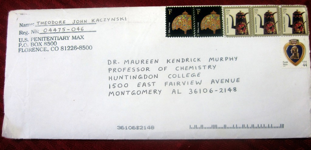Carta enviada pelo Unabomber à professora Maureen Kendrick Murphy (foto: University of Michigan).